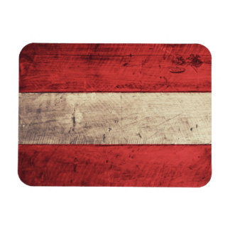 Old Wooden Austria Flag Magnet