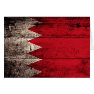 Old Wooden Bahrain Flag Greeting Cards