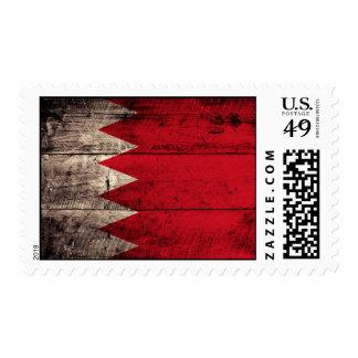 Old Wooden Bahrain Flag Postage Stamp