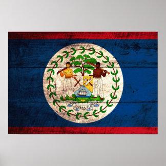 Old Wooden Belize Flag Poster