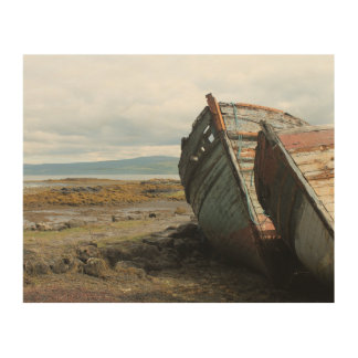 Old wooden boats on a Scottish beach, wood canvas