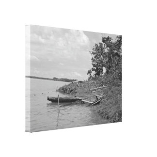 Old Wooden Boats on the River - Black and White Canvas Print
