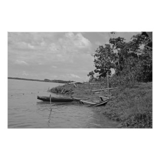 Old Wooden Boats on the River - Black and White Poster