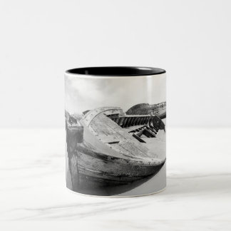 Old wooden boats Two-Tone coffee mug
