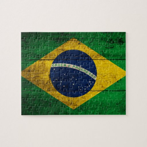 Old Wooden Brazil Flag Jigsaw Puzzles