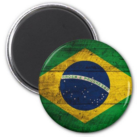 Old Wooden Brazil Flag Magnet