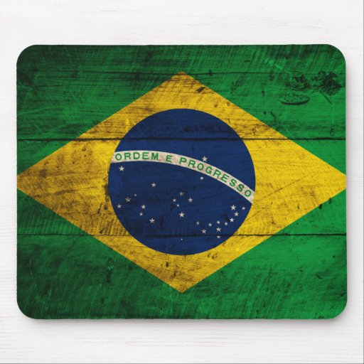 Old Wooden Brazil Flag Mouse Pad