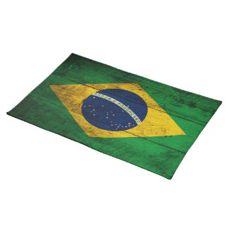 Old Wooden Brazil Flag Placemat