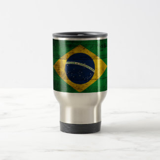 Old Wooden Brazil Flag Travel Mug