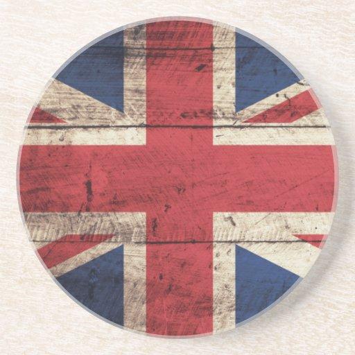 Old Wooden British Flag Drink Coaster