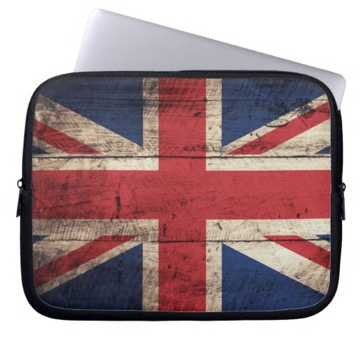 Old Wooden British Flag Laptop Computer Sleeves