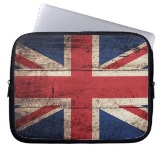 Old Wooden British Flag Laptop Sleeves