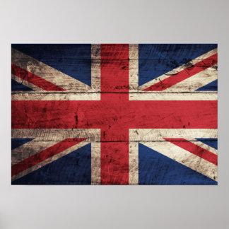 Old Wooden British Flag Poster