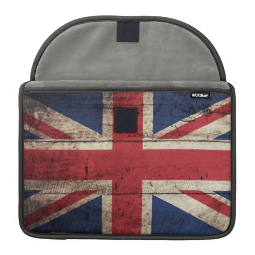 Old Wooden British Flag Sleeves For MacBook Pro