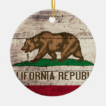 Old Wooden California Flag Christmas Ornaments