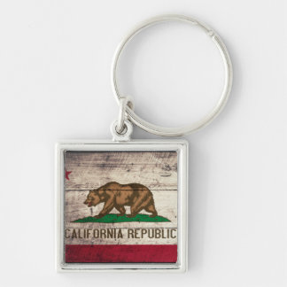 Old Wooden California Flag Keychains