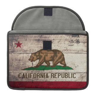 Old Wooden California Flag Sleeves For MacBooks