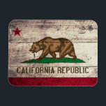 """Old Wooden California Flag Magnet<br><div class=""""desc"""">California State Flag; Californian</div>"""