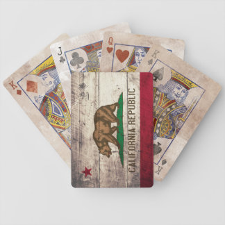 Old Wooden California Flag Playing Cards