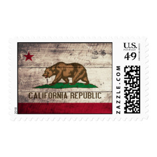 Old Wooden California Flag Postage Stamp