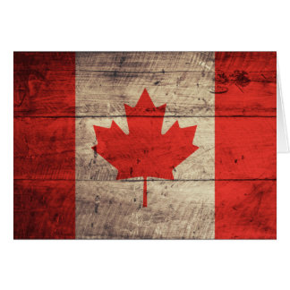 Old Wooden Canadian Flag Greeting Card