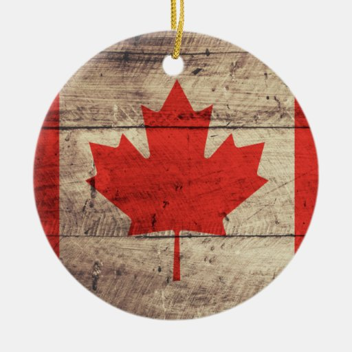 Old Wooden Canadian Flag Christmas Tree Ornaments