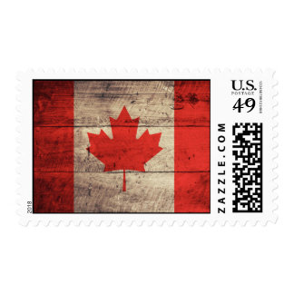 Old Wooden Canadian Flag Stamps