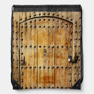 Old Wooden Castle Door Drawstring Backpack