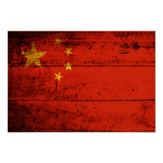 Old Wooden China Flag Poster