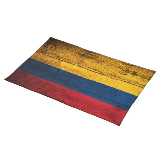 Old Wooden Colombia Flag Cloth Placemat