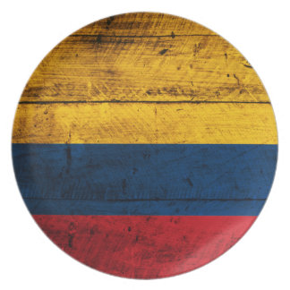 Old Wooden Colombia Flag Dinner Plate