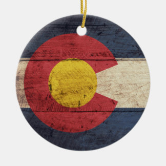 Old Wooden Colorado Flag Ceramic Ornament