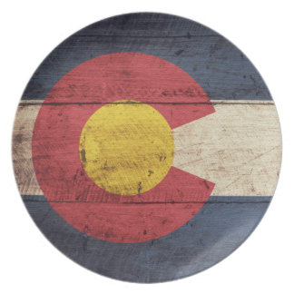 Old Wooden Colorado Flag Dinner Plate