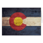 Old Wooden Colorado Flag Greeting Card