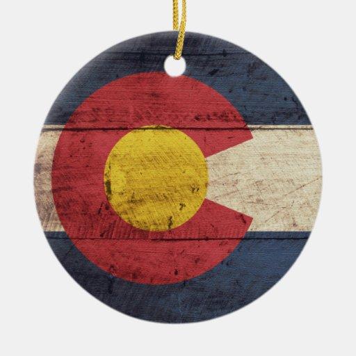 Old Wooden Colorado Flag Ornaments