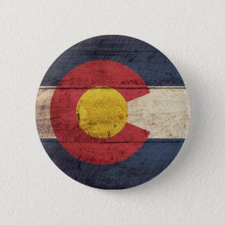 Old Wooden Colorado Flag Pinback Button