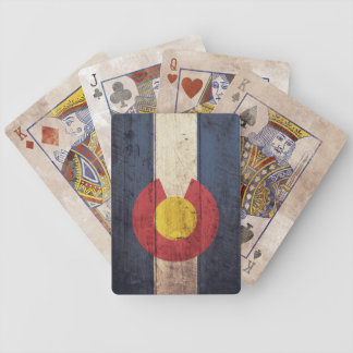 Old Wooden Colorado Flag Playing Cards
