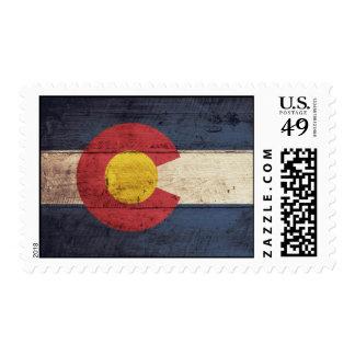 Old Wooden Colorado Flag Postage Stamp