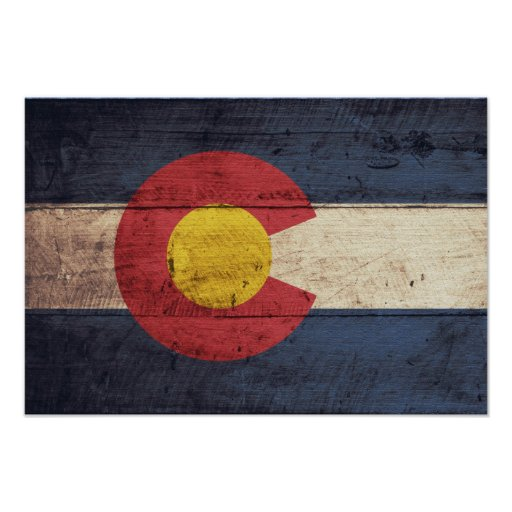 Old Wooden Colorado Flag Posters
