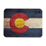 Old Wooden Colorado Flag Rectangular Photo Magnet