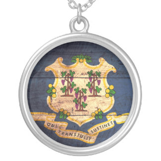 Old Wooden Connecticut Flag Round Pendant Necklace