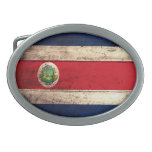 Old Wooden Costa Rican Flag Oval Belt Buckle