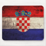 Old Wooden Croatia Flag Mouse Pad