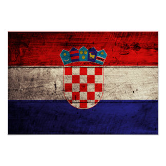Old Wooden Croatia Flag Poster