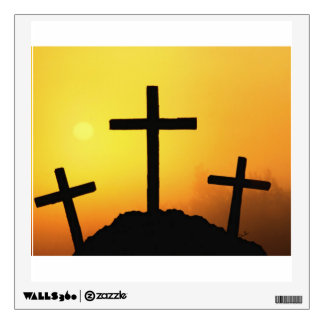 Old Wooden Cross on Calvary Hill at Sunset Wall Decal