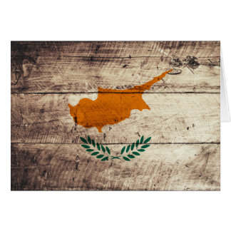 Old Wooden Cyprus Flag Card