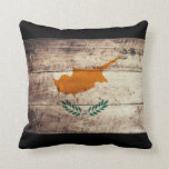 Old Wooden Cyprus Flag Pillow