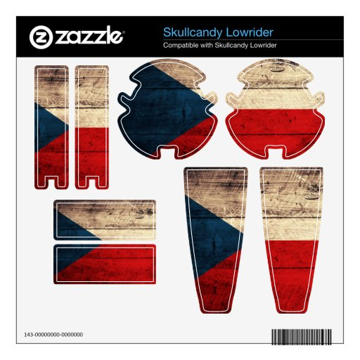Old Wooden Czech Republic Flag; Decals For Skullcandy