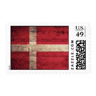 Old Wooden Denmark Flag Postage Stamps