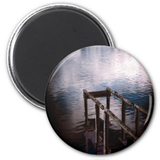 Old Wooden Dock Over Water with Mist 2 Inch Round Magnet